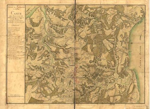 Map of Armée de Rochambeau, 1782. Carte des environs de Williamsburg en Virginie où les armées françoise et américaine ont campés en Septembre 1781. United - Williamsburg Stores Va In