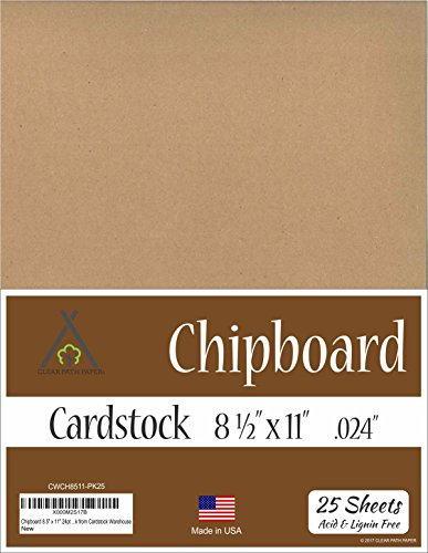 Chipboard - 8.5 x 11 inch - .024'' Thick - 25 Sheets by Clear Path Paper