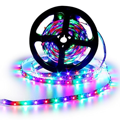 Sanwo 16.4ft Flexible RGB LED Strip Lights, Waterproof IP65, 300 Unites LEDs, 3528 SMD LED Ribbon with 12V Power Supply Adapter + 44Key Remote Controller (3528RGB1)