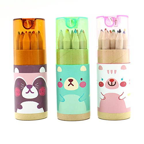 HUELE Pack of 3 Cute Cartoon Bear Mini Drawing Colored Penci