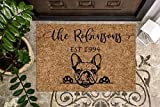 French Bulldog Personalized Doormat | Frenchie | Custom Doormat | Welcome Mat | Housewarming Gift | Last Name Door Mat | Closing Gift