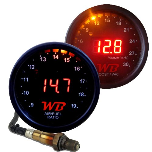 WB 2 Gauge Complete Combo D2 Wideband Controller + B2 Boost Display Gauges (Red)