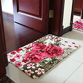 Sytian® 15.75*23.62 Inch Rural Rug Rose Flower Rug Decorative Doormat Floor  Mat Bath Mat Bedroom Carpet Shaggy Area Rug Bathroom Shower Rug (Pretty Rose  ...