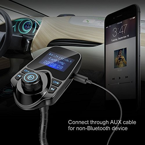 FM Transmitter Bluetooth Wireless Radio Adapter Car Kit Bluetooth Audio Receiver Hands Free Calling Music Player with USB Port and Aux Inputt//Output TF Card 1.44 Joas 4351497255