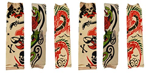 Black Duck Brand Set of 6 Sheer Tattoo Sleeves! The Perfect Addition to Halloween Costumes! (6 Sleeves)