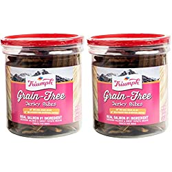 Triumph 2 Pack of Grain-Free Jerky Bites, Salmon and Sweet Potato Recipe, 20 Ounces Per Container