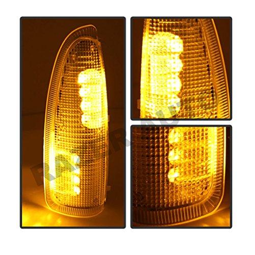 Razer Auto Side Mirror Turn Lights Amber LED Amber Lens Replacement Kit, Mirror LED Lights, Yellow LENS & Black Base & Amber LED for 03-07 Super Duty