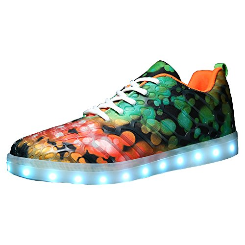 Color Rechargeable Shoes LED Matari Sneakers Men's Light Casual 7 Green Night Luminous xWOqq10ZY