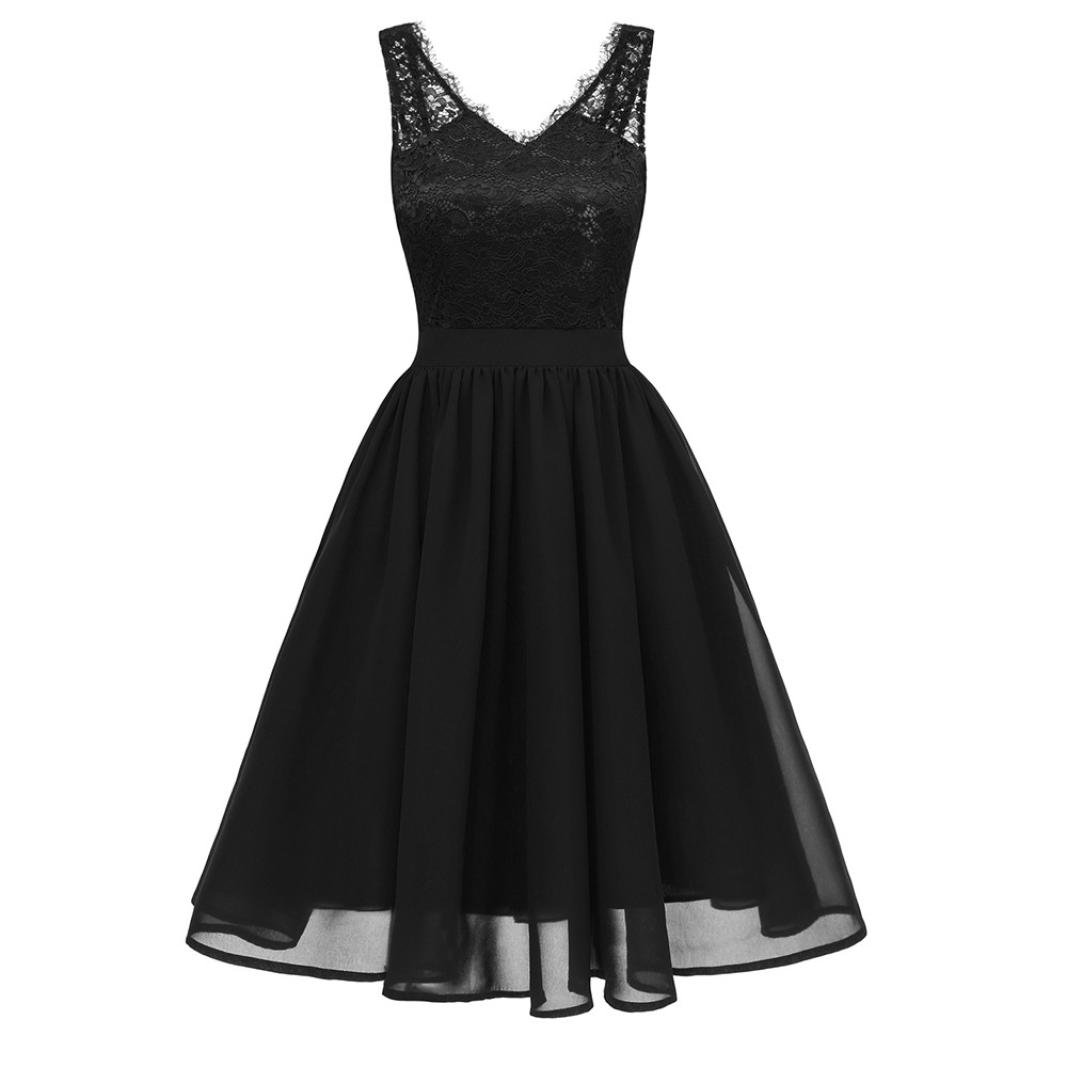 baskuwish Women's one-shoulder lace dress Cocktail V-Neck Party A-line Swing Dress (Black, S)