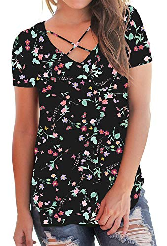 - onlypuff Black T Shirt for Summer V Neck Tee Women Criss Cross Floral Print Short Sleeve L