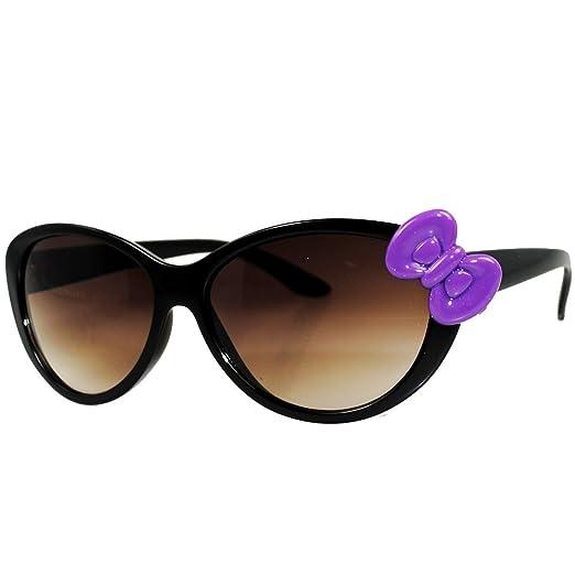 99f23127f Amazon.com: Hello Kitty Women Nerd Cat Eye Fashion Frame Sunglasses (Black  Purple Bow): Clothing