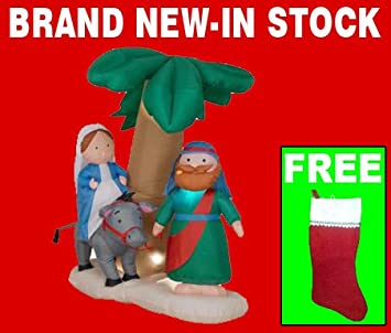 blow up christmas yard decorations airblown 6 ft inflatable nativity joseph and mary journey
