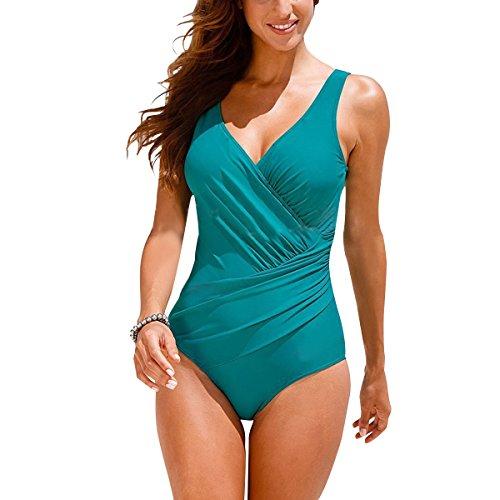Tempt Me Women One Piece Plus Size Deep Plunge Front Ruched Cross Monokini Swimsuit Sky Blue XL