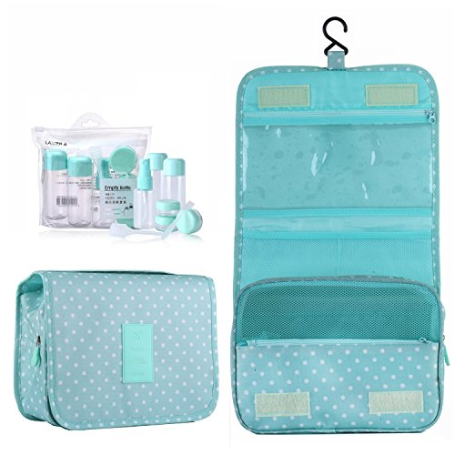 ,Portable Travel Camping Organizer Waterproof Cosmetic Makeup Shaving Bag Toiletry Kit for Men & Women with Sturdy Hook and Travel Bottles (A Mint Dot) (Maximum Growth Gift Set)