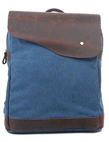 """Leaper Vintage Canvas Leather Backpack College School Bag Travel Rucksack Fits 15"""" Laptop & Tablets Blue"""