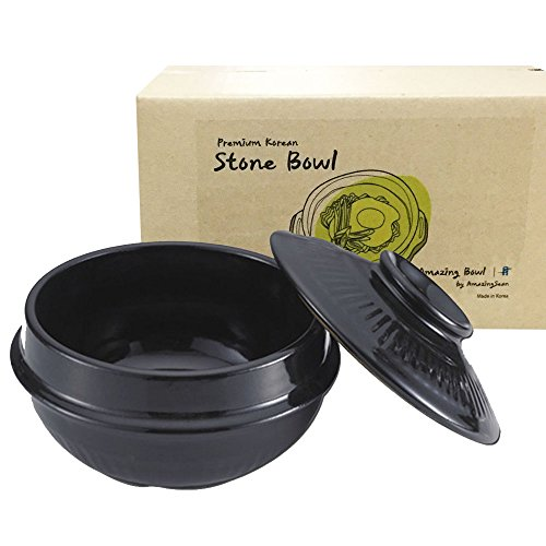 Korean DOLSOT Stone Bowl with Lid and Trivet, Earthenware, Stone Pot Hot Pot Bibimbap Jjiage Korean Food