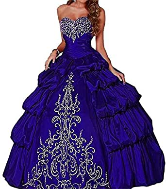 DreHouse Women's Vintage Embroidery Princess Prom Party Gowns Long Quincenera Dresses