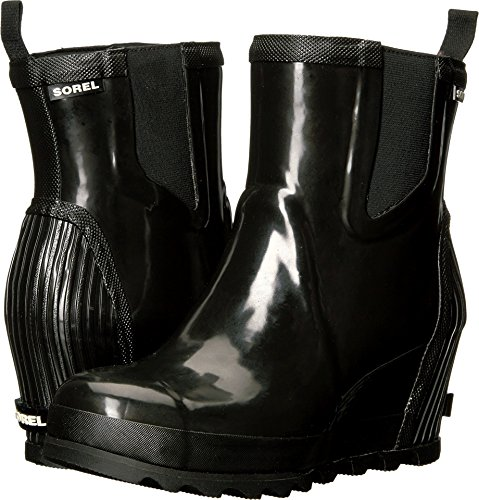 SOREL Rain Booties Chelsea Joan Sea Black Wedge Rain Women's Gloss Salt qwRUrqW
