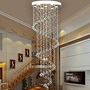 Saint Mossi Modern Rain Drop Crystal Droplet Chandelier Swirl Design Ceiling Light D24 X H71