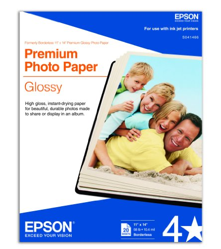 (Epson Premium Photo Paper GLOSSY (11x14 Inches, 20 Sheets) (S041466))