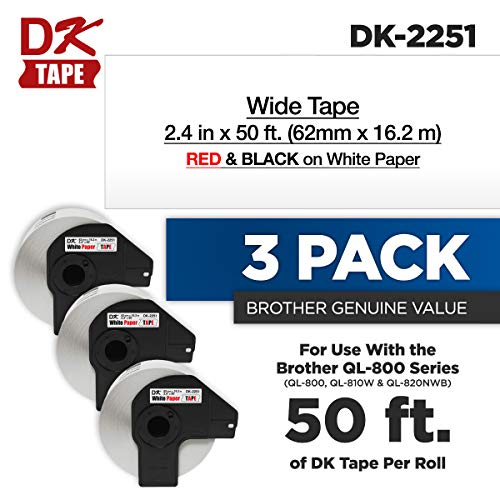 - Brother Genuine DK-2251 3-Pack Black & Red Print on Continuous Length White Paper Tape, 2.4
