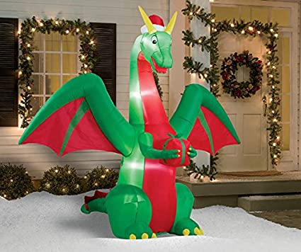 8 foot airblown inflatable christmas dragon with present outdoor yard lawn decoration seasonal display