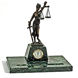 Desk Accessories - Lady Justice Pen Holder and Clock - Pen Stand - Legal