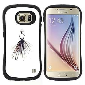 """Hypernova Slim Fit Dual Barniz Protector Caso Case Funda Para Samsung Galaxy S6 [Bailarín de la bailarina minimalistas Alas señora Fashion""""]"""