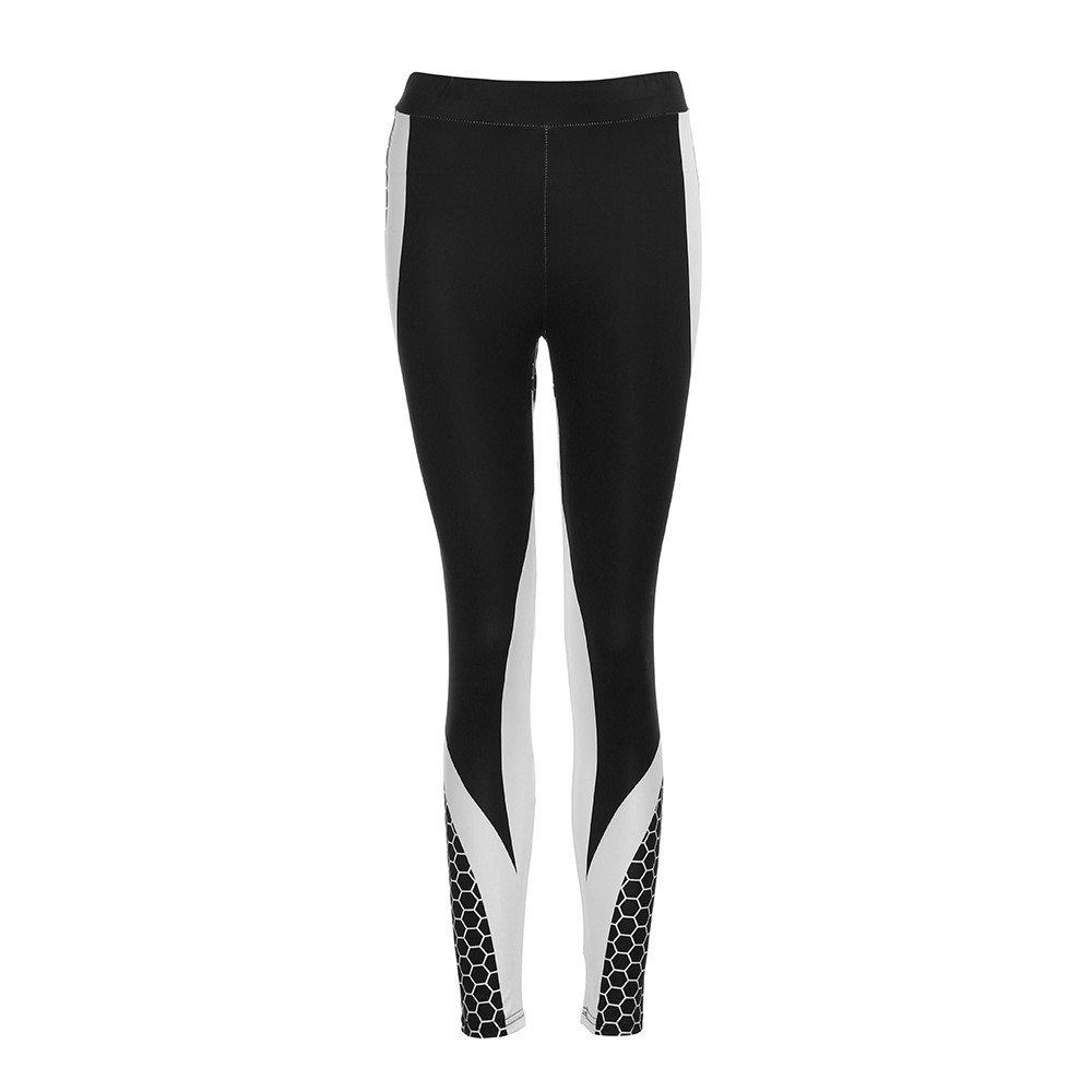 Women's Yoga Capri Pants Womens 3D Print Yoga Skinny Workout Gym Leggings Sports Training Cropped Pants (Black, L)