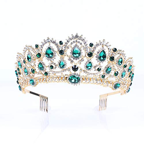 Vinsco Baroque Crown Vintage Tiara Luxury Retro Headband Crystal Rhinestone Hair Jewelry Decor for Queen Women Ladies Girls Bridal Bride Princess Birthday Wedding Pageant Party with Combs ()