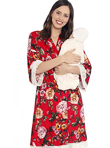 Angel Maternity 3 in 1 Birth Kit: Hospital Gown + Maternity Gown, Nursing Dress and Baby Blanket Labor Kit - Red Floral - XXL