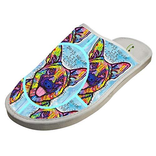 BVVST Bedroom Shoes German Shepherd Warm Indoor House Slippers For Women/Men