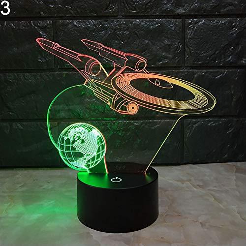 LED Night Light Kekailu, Heart Bear Horse 3D Illusion Color Changing LED Desk Light Table Night Lamp - 3#