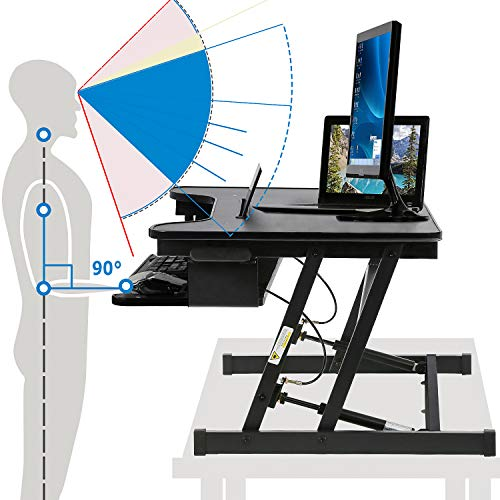 32 inch Standing Desk Sit to Stand Height Adjustable Standing Desk Converter Stand Up Desk with Keyboard Dual Monitor for Home Office