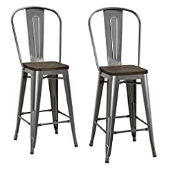 Farmhouse Barstools DHP Luxor Counter Stool with Wood Seat and Backrest, 24″, Antique Gun Metal farmhouse barstools