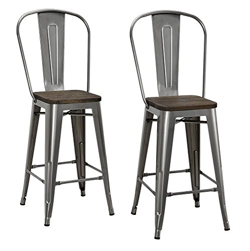 Antique Distressed Black Wood (DHP Luxor Metal Counter Stool with Wood Seat and Backrest, Set of two, 24