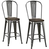 """DHP Luxor Metal Counter Stool with Wood Seat and Backrest, Set of two, 24"""", Antique Gun Metal"""