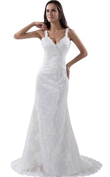 George Bride lleno de punta Estimulante boda vestido con espaguetis traegern playa Vestidos de novia Vestidos
