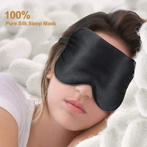 Eye Mask for Sleeping PaiTree Natural Silk Sleep Mask & Blindfold, Professionally-Made, Super-Smooth & Skin-Friendly Eye Shade Eye Cover for Sleeping for Woman & Man (Black)
