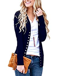 Women's V-Neck Button Down Knitwear Long Sleeve Soft...