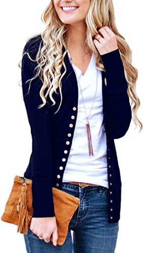 NENONA Women's V-Neck Button Down Knitwear Long Sleeve Soft Basic Knit Cardigan Sweater(New Navy-L)