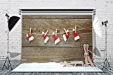 LB Christmas Hat Backdrops for Photography 7x5ft Muslin Washable Seamless Wood Background for Party Event Portraits Photo Booth Backdrop