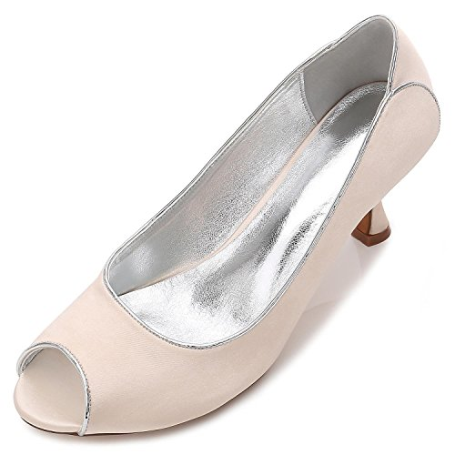 53 De Careers Champagne Boda Toe Silk Mujeres yc Office L Peeking Night Las Party Zapatos Wedding T17061 amp; Tga0nwx