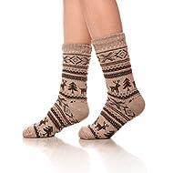 SDBING Women Christmas Deer Super Soft Fuzzy Fleece-lined Winter Warm Slipper Socks With Grips (khaki)