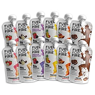 Fuel For Fire - Variety Pack with All 6 Flavors (12 Pack) Including New Mixed Berry! Fruit & Protein Smoothie Squeeze Pouch |Gluten Free, Soy Free, Kosher (4.5 ounce pouches)