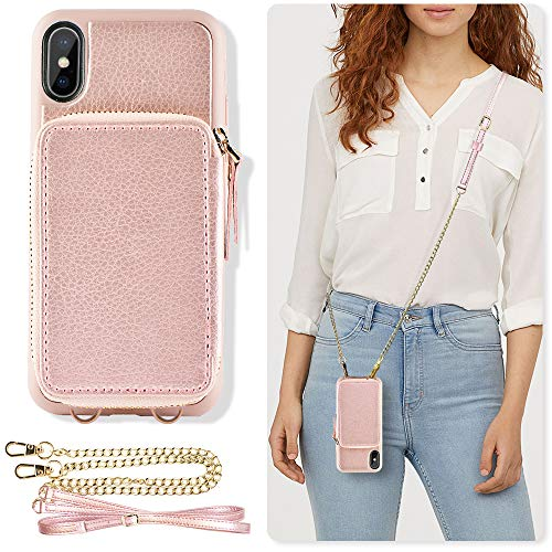 iPhone Xs Max Wallet Case, ZVE iPhone Xs Max Case with Credit Card Holder Slot Crossbody Chain Handbag Purse Wrist Zipper Strap Case Cover for Apple iPhone Xs Max 6.5 inch - Rose Gold