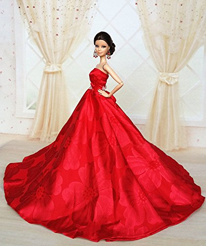 Barbie Red Fashion Royalty Princess Party Dress/Clothes/Gown For Barbie