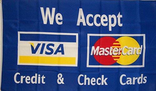 3X5 Ft Blue Visa Master Card Business Banner Flag With Brass