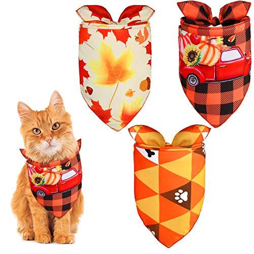 URATOT 3 Pack Thanksgiving Pet Bandanas Maple Leaf Dog Bandana Bibs Fall Dog Kerchief Scarf for Dogs Cats Holiday Costume