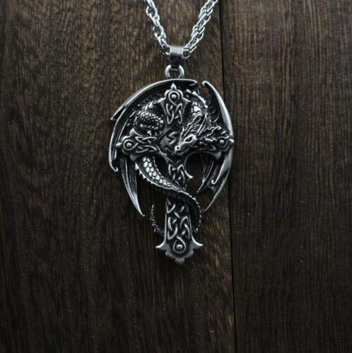 Metal Color: Leather Chain Religious Cross Jewelry - Davitu 1pcs Fashion Celt Dragon Pendant Men Cross Necklace Wing Necklace Dragon Necklace Guardian Cross